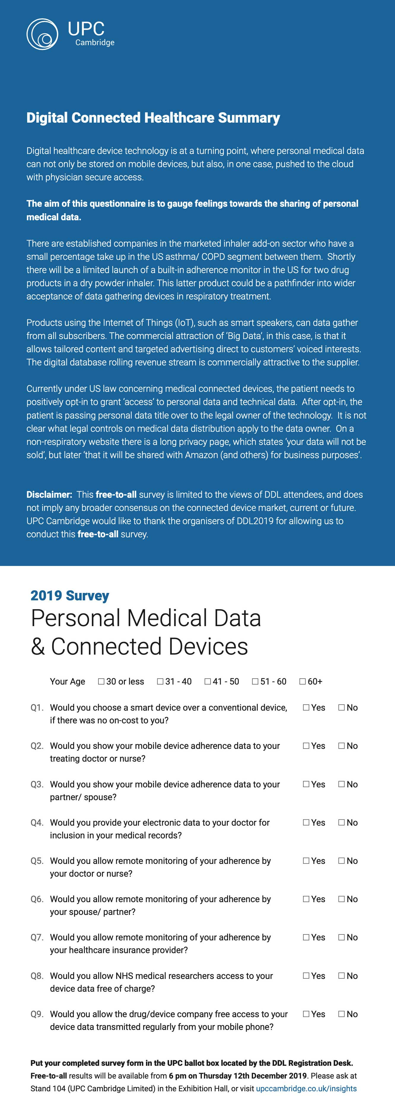 Survey provided to attendees of DDL2019